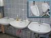 3 Personen können sich gleichzeitig die Hände waschen - und auch für die Herren ist gesorgt.